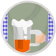 Hand With Beer Round Beach Towel