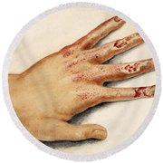 Hand With Roentgen Ray X-ray Round Beach Towel