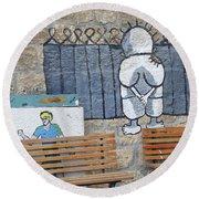 Handala And The Wall Round Beach Towel