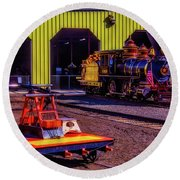 Handcar And Old Train Round Beach Towel