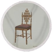 Handcarved Side Chair Round Beach Towel