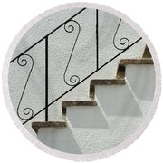 Handrail And Steps 1 Round Beach Towel