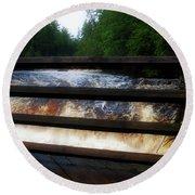 Handrails Tahquamenon Lower Falls Upper Peninsula Michigan 02 Round Beach Towel