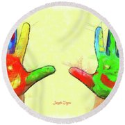 Hands In Art Round Beach Towel