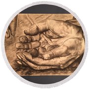 Hands Of Poverty Round Beach Towel