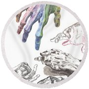Hands Of The Masters Round Beach Towel