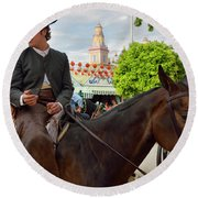 Handsome Man And Beautiful Woman Drinking On Horseback With 2015 Round Beach Towel