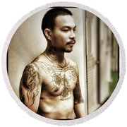 Handsome Man With Tattoos. #thailife Round Beach Towel