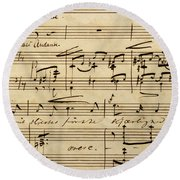 Handwritten Score For Hjertets Melodier, Opus 5 Round Beach Towel