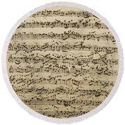 Handwritten Score For Mass In B Minor Round Beach Towel