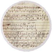 Handwritten Score For Waltz For Piano, Opus 39 Round Beach Towel