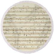 Handwritten Score For Waltz In Flat Major Round Beach Towel