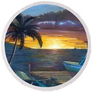 Hang Loose Harbor Round Beach Towel