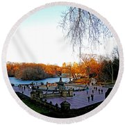 Hangin' At Bethesda Fountain Round Beach Towel