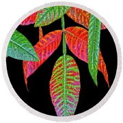 Hanging Green And Red Leafs... Round Beach Towel