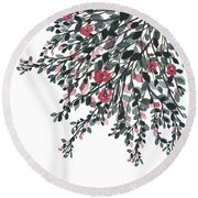 Hanging Leaves IIi Round Beach Towel