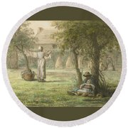 Hanging Out The Laundry By Jean-francois Millet Round Beach Towel