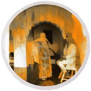 Hanging Out Travel Exotic Arches Orange Abstract Square India Rajasthan 1c Round Beach Towel