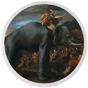 Hannibal Crossing The Alps On Elephants By Nicolas Poussin, 1625-1626. Round Beach Towel