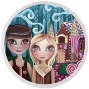 Hansel And Gretel Round Beach Towel