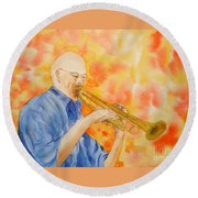 Hanson On Trumpet Round Beach Towel
