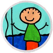 Happi Arte 2 - Boy Fish Art Round Beach Towel by Sharon Cummings