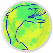 Happier Humpback 1 Round Beach Towel