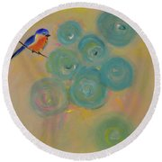 Happiness In Blue  Round Beach Towel