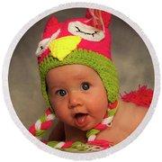 Happy Baby In A Woollen Hat Round Beach Towel