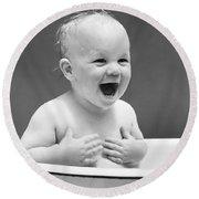 Happy Baby In Tub, C. 1940s Round Beach Towel