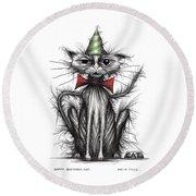 Happy Birthday Cat Round Beach Towel