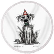 Happy Birthday Dog Round Beach Towel