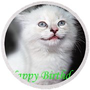 Happy Birthday Kitty Round Beach Towel