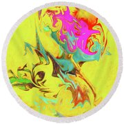 Happy Birthday Lilac Breasted Roller Abstract Round Beach Towel