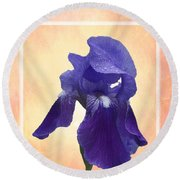 Happy Birthday Purple Iris Round Beach Towel