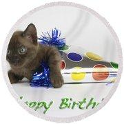 Happy Birthday Round Beach Towel