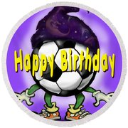 Happy Birthday Soccer Wizard Round Beach Towel