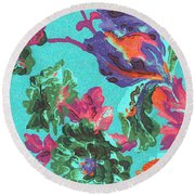 Happy Blooms Round Beach Towel