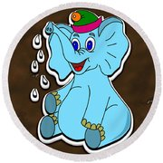 Happy Blue Elephant Gingerbread Round Beach Towel