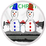 Happy Christmas 116 Round Beach Towel