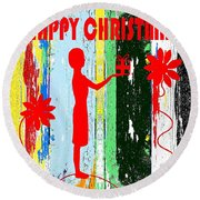 Happy Christmas 14 Round Beach Towel