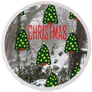 Happy Christmas 22 Round Beach Towel