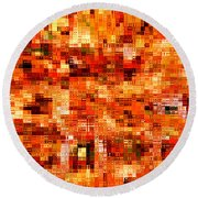 Happy Colors Abstract Round Beach Towel by Carol Groenen