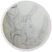 Happy Couple Round Beach Towel