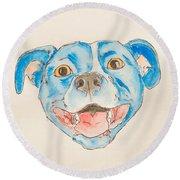 Happy Dog Blue Round Beach Towel
