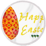 Happy Easter Abstract Greeting Card Art By Omaste Witkowski  Round Beach Towel