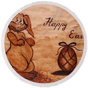 Happy Easter Coffee Painting Round Beach Towel