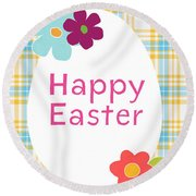 Happy Easter Egg- Art By Linda Woods Round Beach Towel