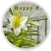 Happy Easter Lily Round Beach Towel