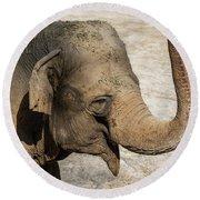 Happy Elephant Round Beach Towel